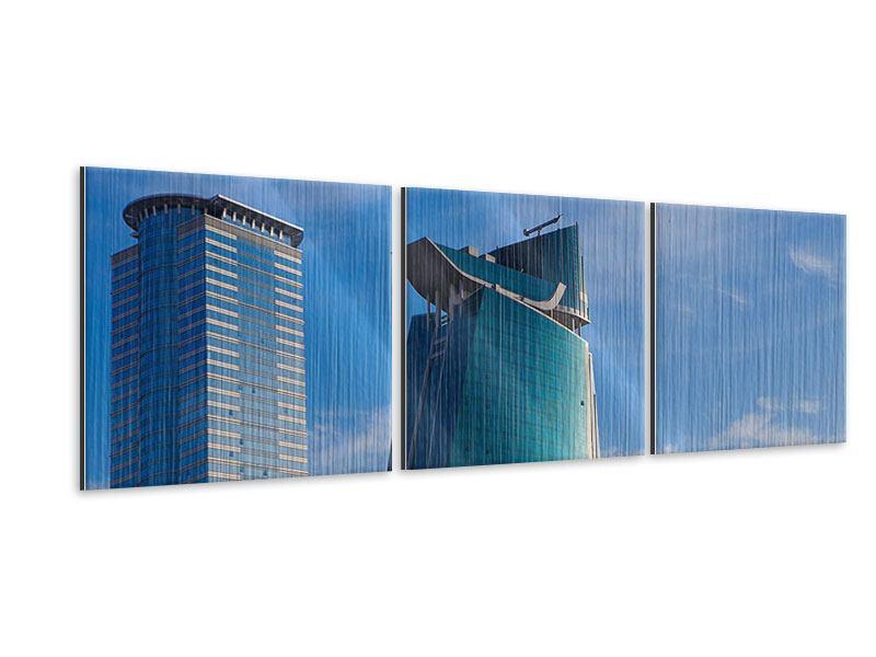 Panorama Metallic-Bild 3-teilig Zwei Wolkenkratzer