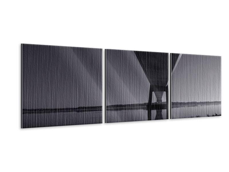 Panorama Metallic-Bild 3-teilig Die Brücke über tiefes Wasser