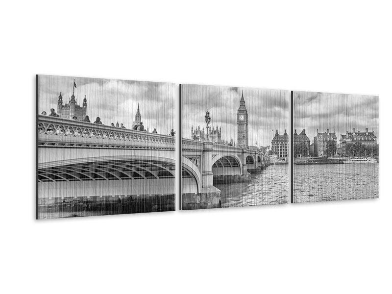 Panorama Metallic-Bild 3-teilig Westminster Bridge