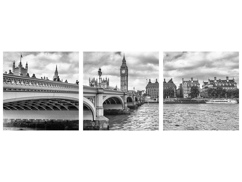 Panorama Metallic-Bild 3-teilig Westminster Bridge