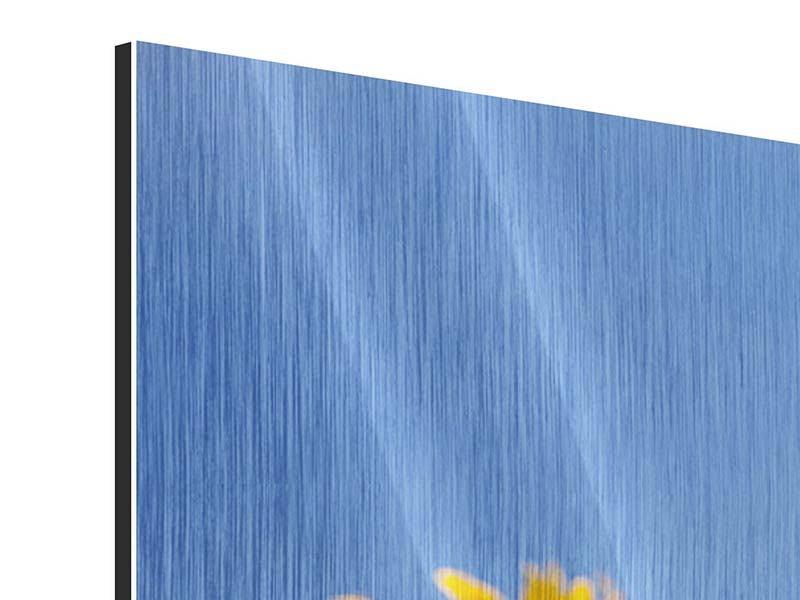Panorama Metallic-Bild 3-teilig Himmlische Sonnenblumen