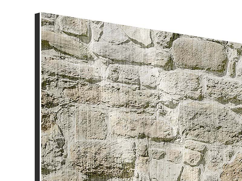 Panorama Metallic-Bild 3-teilig Naturmauer