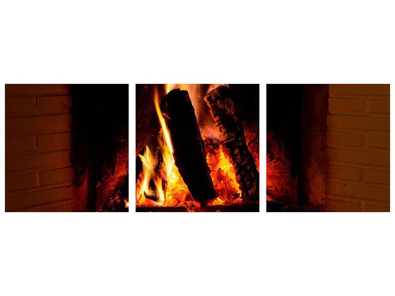 Panorama Metallic-Bild 3-teilig Feuer im Kamin