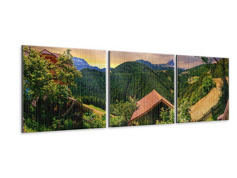 Panorama Metallic-Bild 3-teilig Schweizer Berge im Sommer