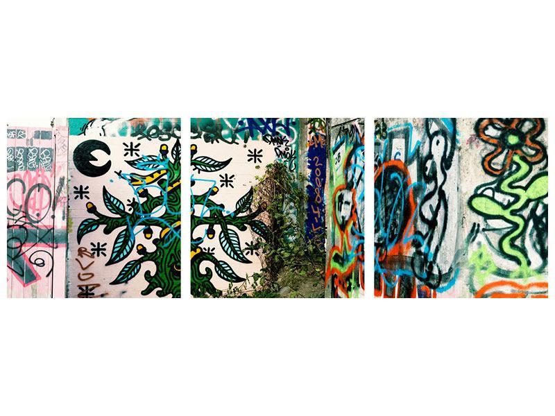 Panorama Metallic-Bild 3-teilig Graffiti im Hinterhof