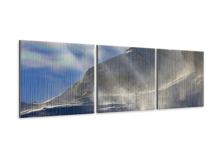 Panorama Metallic-Bild 3-teilig Mit Schneeverwehungen den Berg in Szene gesetzt