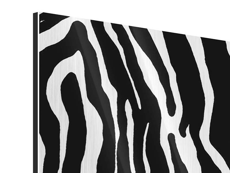 Panorama Metallic-Bild 3-teilig Zebramuster