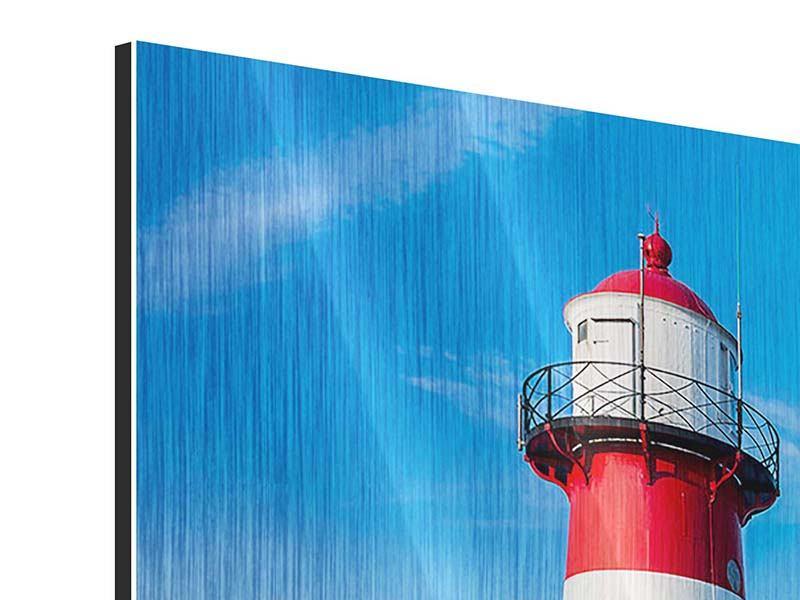 Panorama Metallic-Bild 3-teilig Sommer beim Leuchtturm
