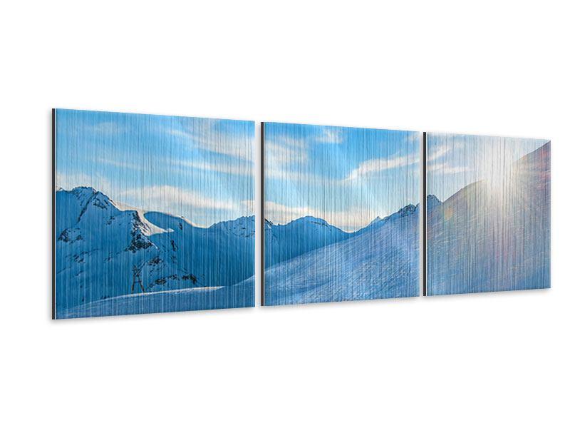 Panorama Metallic-Bild 3-teilig Sonnenaufgang in den Bergen