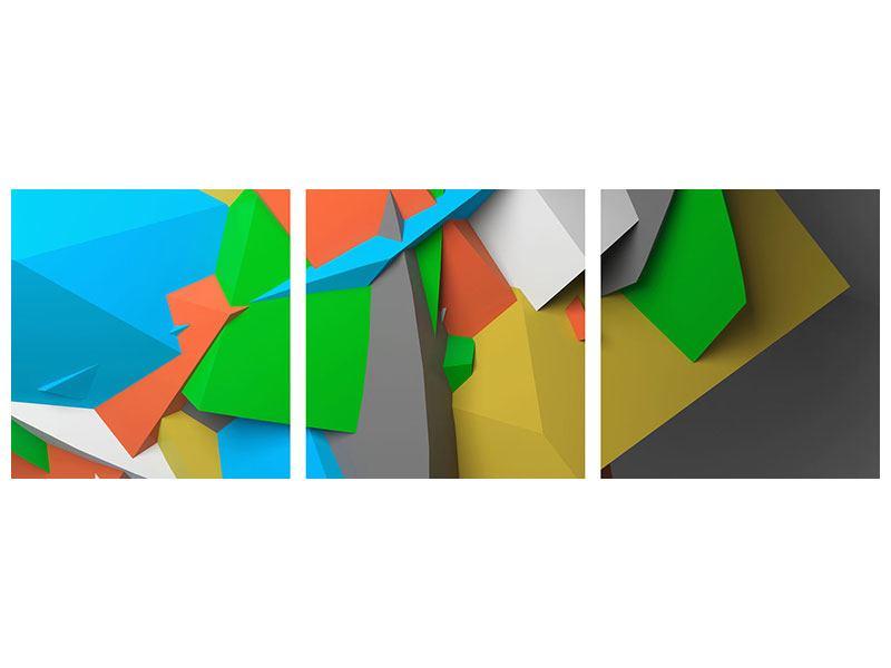 Panorama Metallic-Bild 3-teilig 3D-Geometrische Figuren