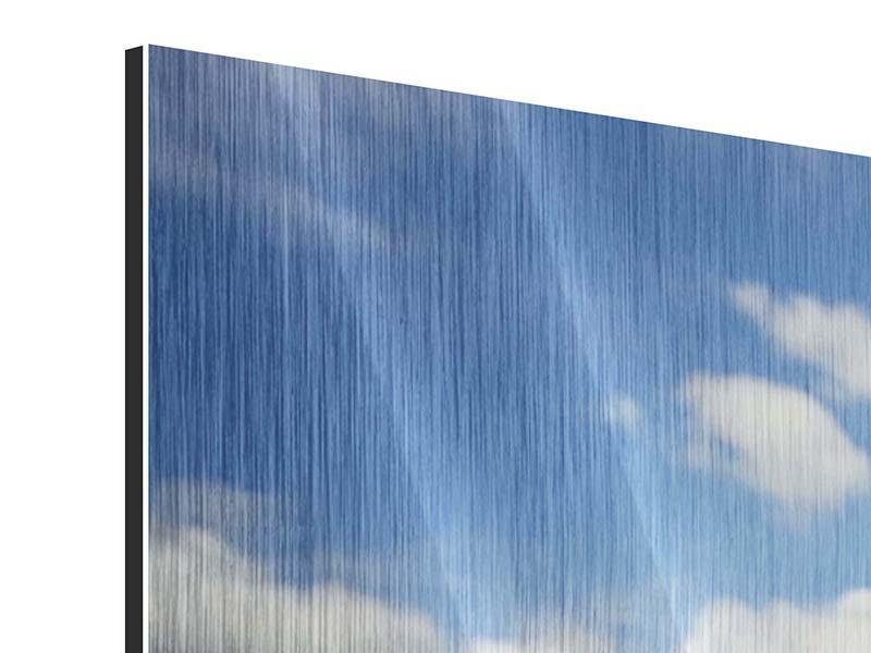 Panorama Metallic-Bild 3-teilig Sommer-Sonnenblumen