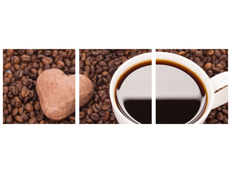 Panorama Metallic-Bild 3-teilig Pausenkaffee