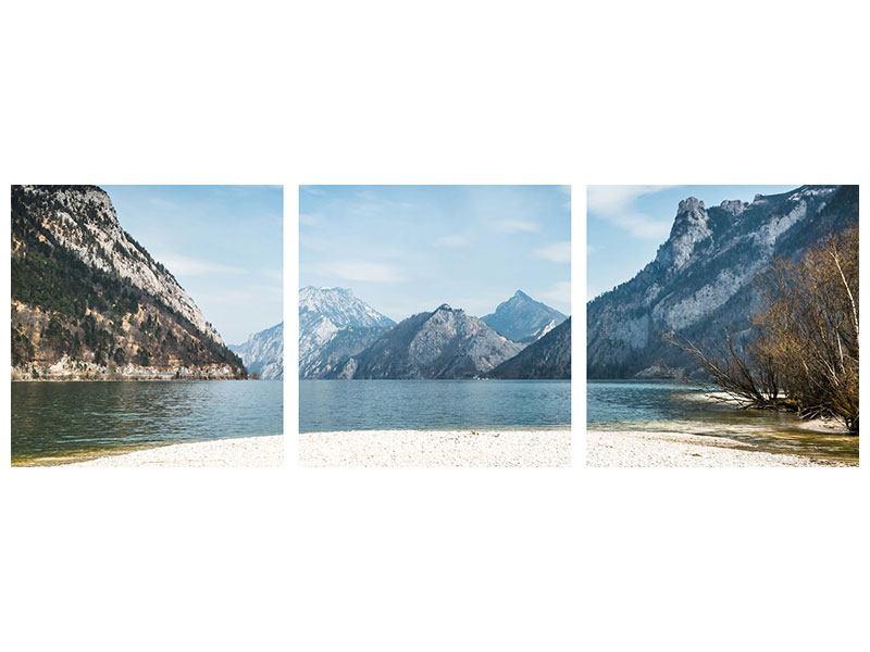 Panorama Metallic-Bild 3-teilig Der idyllische Bergsee