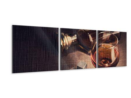 Panorama Metallic-Bild 3-teilig Ein Glas Cognac
