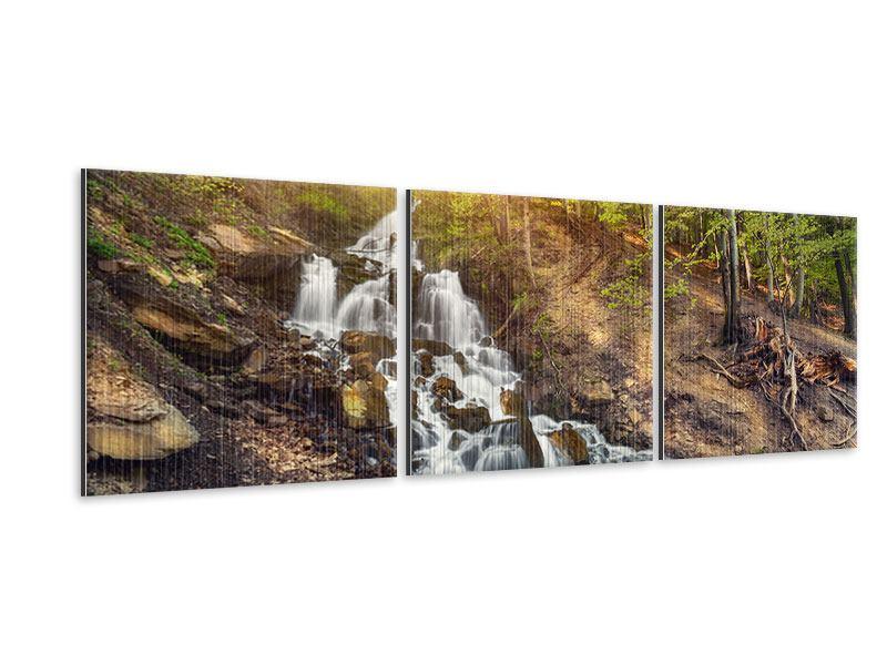 Panorama Metallic-Bild 3-teilig Naturschönheit
