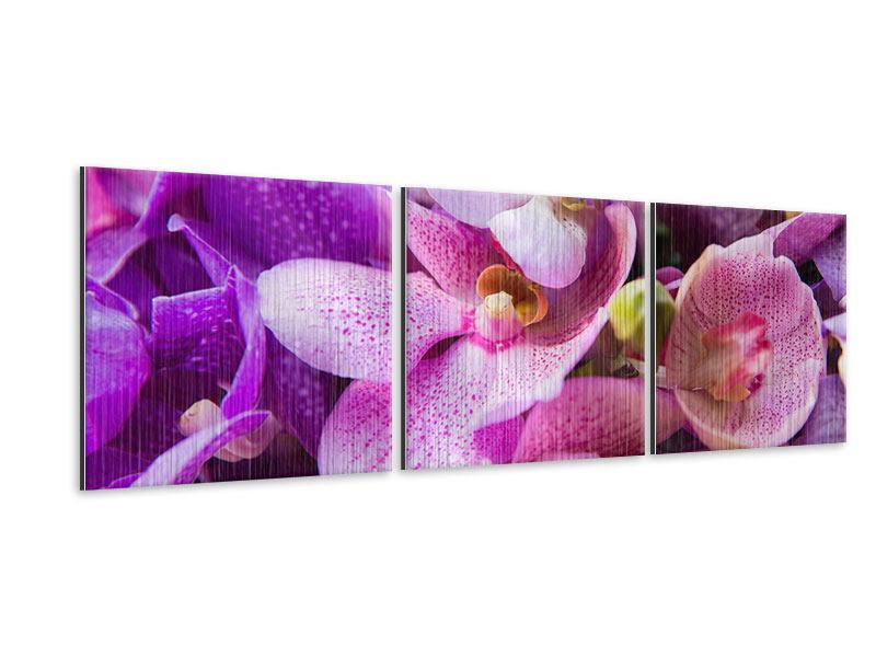 Panorama Metallic-Bild 3-teilig Im Orchideenparadies