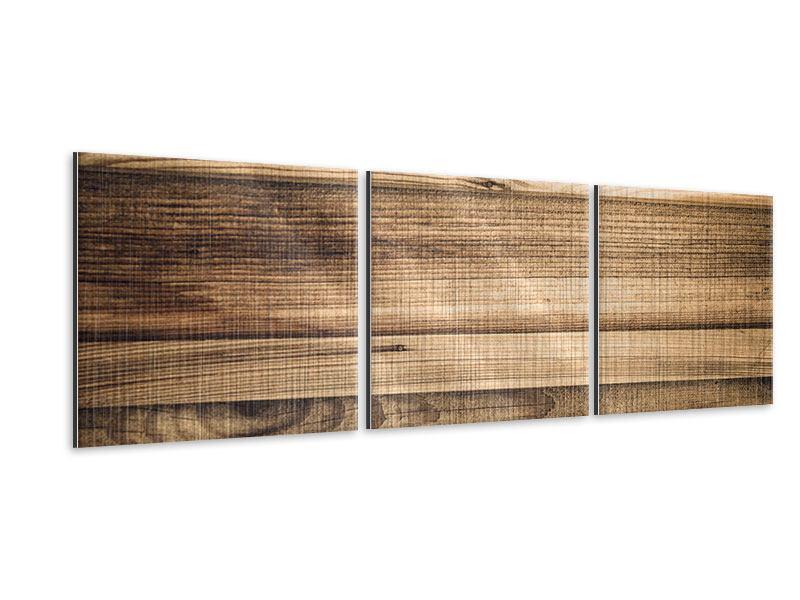 Panorama Metallic-Bild 3-teilig Holztrend