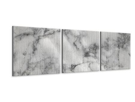 Panorama Metallic-Bild 3-teilig Klassischer Marmor