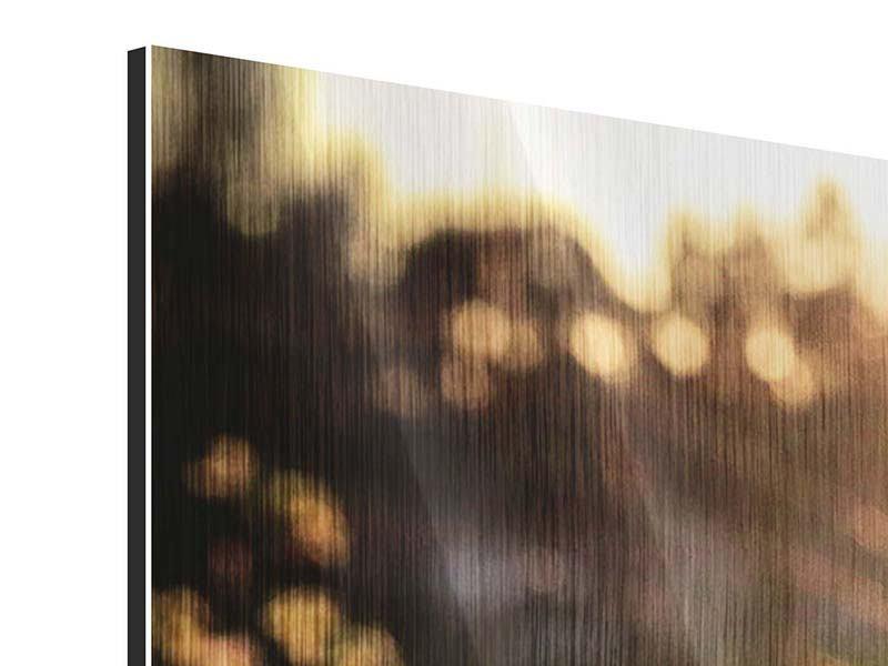 Panorama Metallic-Bild 3-teilig Gänseblümchen bei Sonnenuntergang
