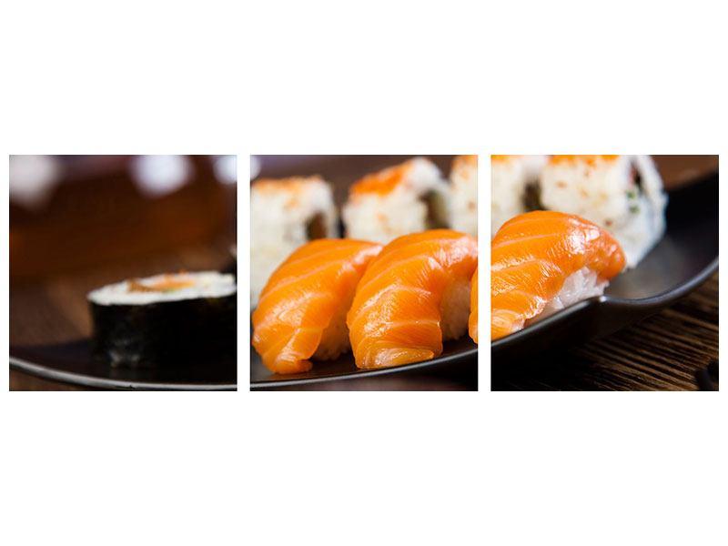 Panorama Metallic-Bild 3-teilig Sushi-Gericht