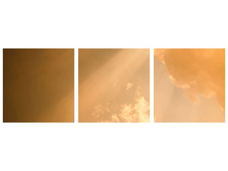 Panorama Metallic-Bild 3-teilig Abendhimmel