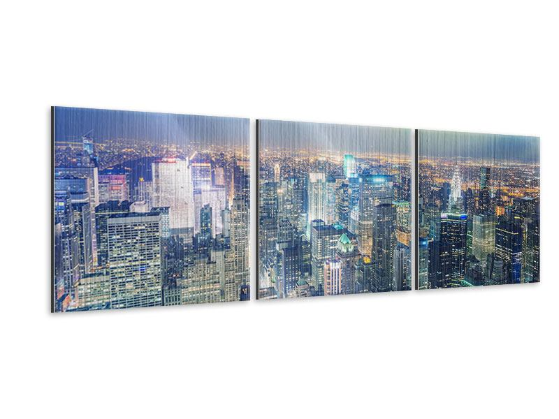 Panorama Metallic-Bild 3-teilig Skyline NY bei Sonnenuntergang