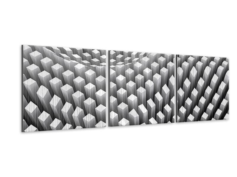 Panorama Metallic-Bild 3-teilig 3D-Rasterdesign