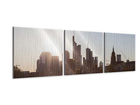 Panorama Metallic-Bild 3-teilig Skyline Sonnenaufgang bei Frankfurt am Main
