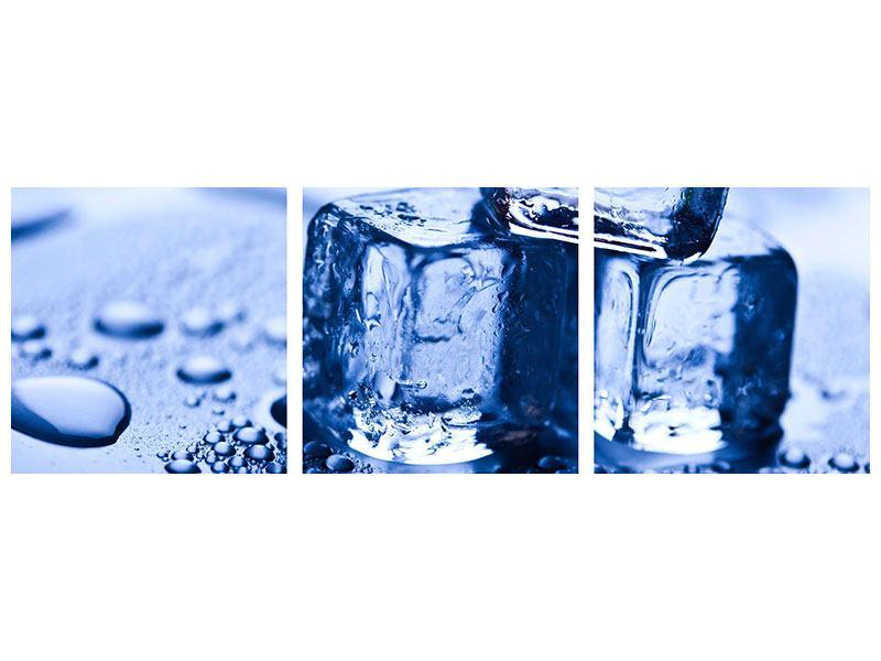 Panorama Metallic-Bild 3-teilig Eiswürfel