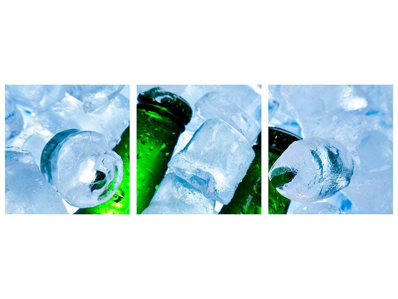 Panorama Metallic-Bild 3-teilig Eisflaschen