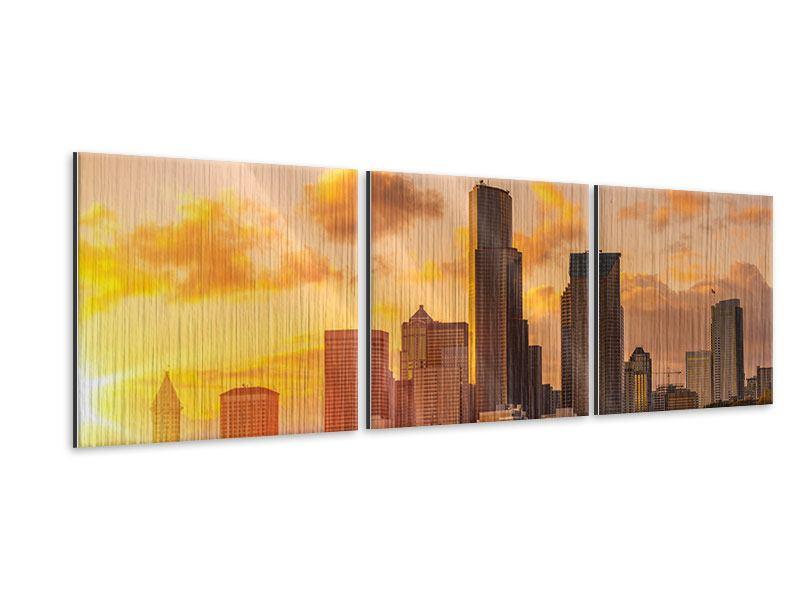 Panorama Metallic-Bild 3-teilig Skyline Washington