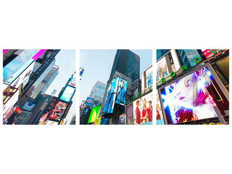 Panorama Metallic-Bild 3-teilig Shopping in NYC