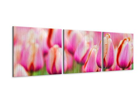 Panorama Metallic-Bild 3-teilig Pretty in Pink