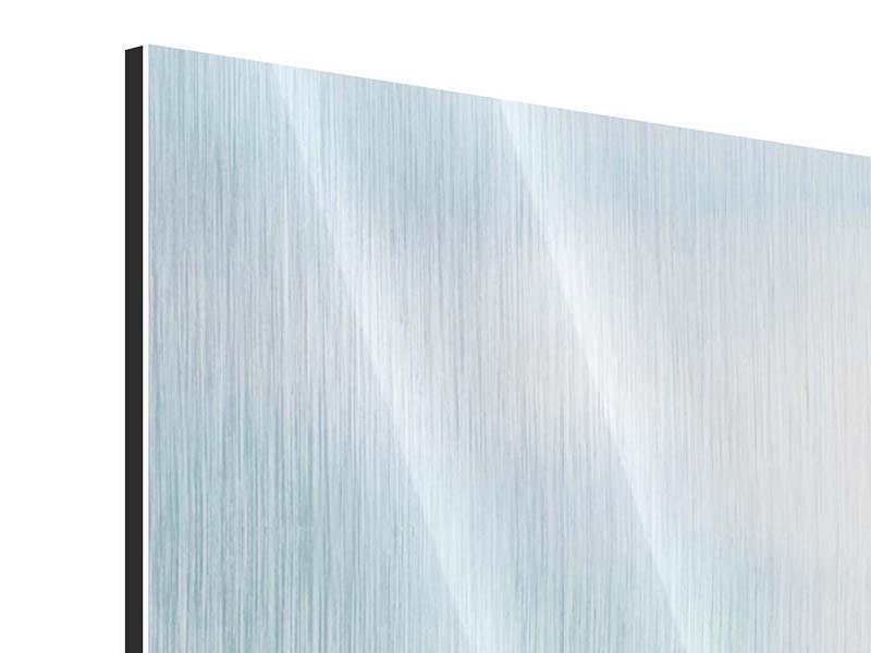 Panorama Metallic-Bild 3-teilig Die Hortensie
