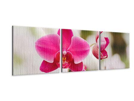 Panorama Metallic-Bild 3-teilig Perspektivische Orchideen