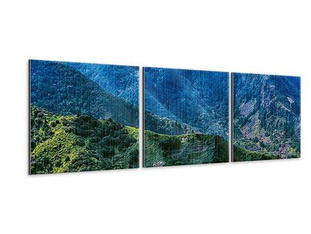 Panorama Metallic-Bild 3-teilig Die Berglandschaft