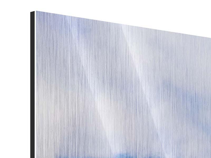 Panorama Metallic-Bild 3-teilig Der stille Berg