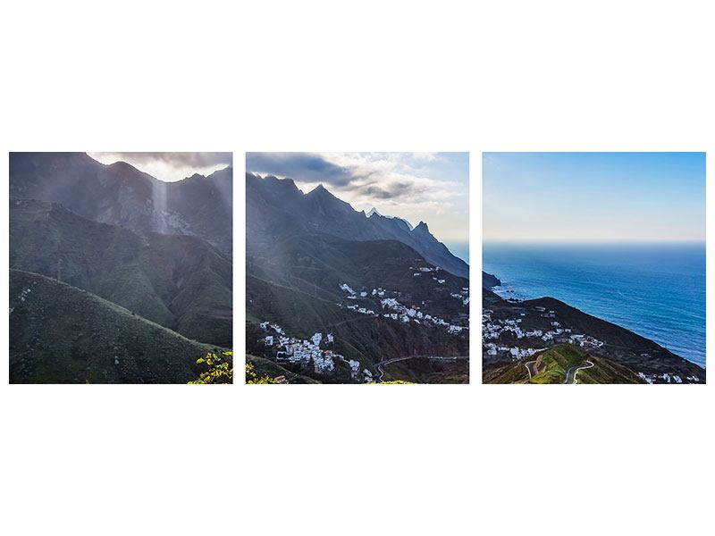 Panorama Metallic-Bild 3-teilig Der Frühling in den Bergen