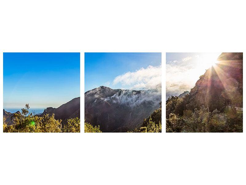 Panorama Metallic-Bild 3-teilig Berge am Meer