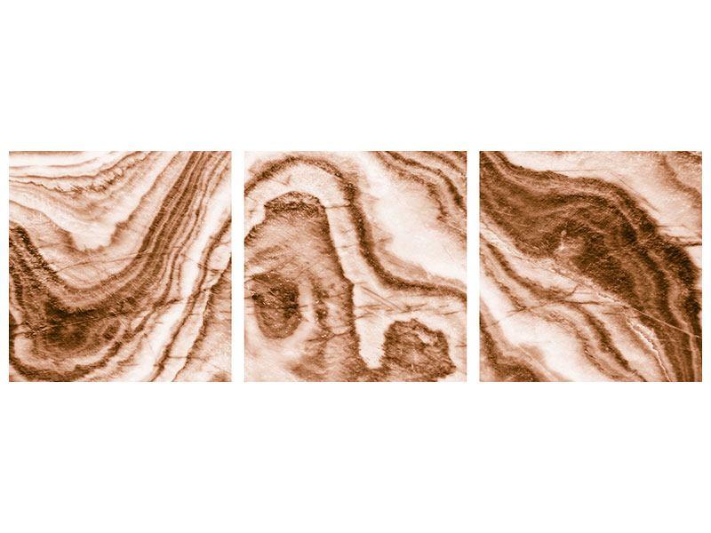 Panorama Metallic-Bild 3-teilig Marmor in Sepia