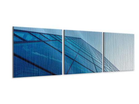 Panorama Metallic-Bild 3-teilig Wolkenkratzer-Highlight