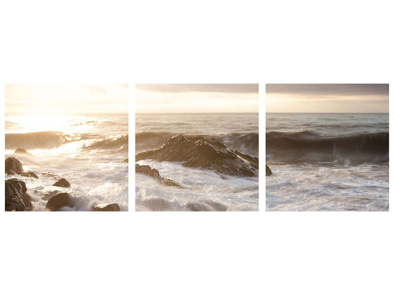 Panorama Metallic-Bild 3-teilig Meeresbrandung