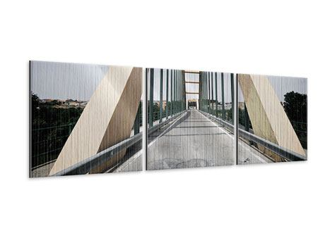 Panorama Metallic-Bild 3-teilig Imposante Hängebrücke