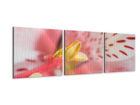 Panorama Metallic-Bild 3-teilig Der Lilienstempel