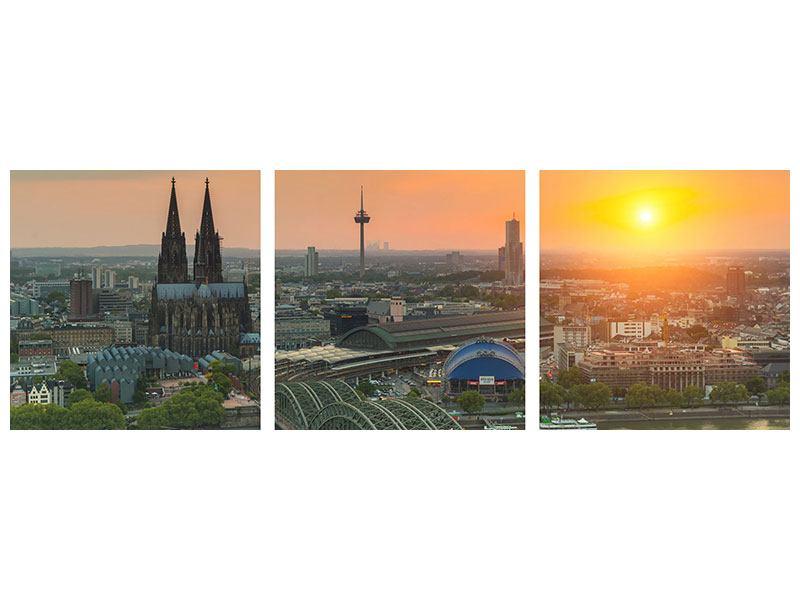 Panorama Metallic-Bild 3-teilig Skyline Köln bei Sonnenuntergang