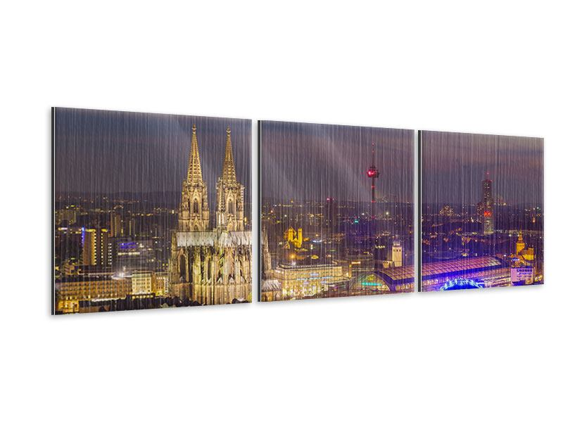 Panorama Metallic-Bild 3-teilig Skyline Kölner Dom bei Nacht