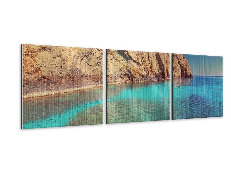 Panorama Metallic-Bild 3-teilig Wasser