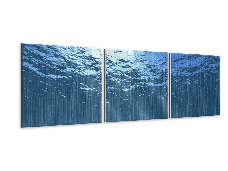 Panorama Metallic-Bild 3-teilig Sonnenstrahlen unter Wasser