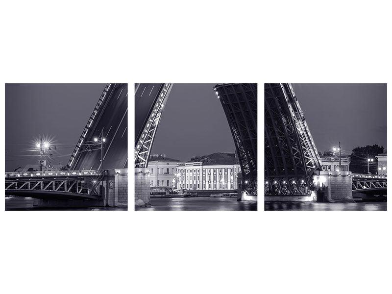 Panorama Metallic-Bild 3-teilig Klappbrücke bei Nacht