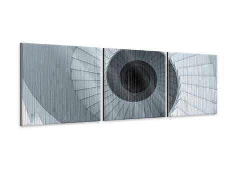 Panorama Metallic-Bild 3-teilig 3D Wendeltreppe
